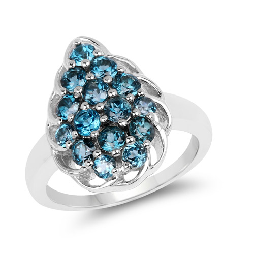 Rings-1.86 Carat Genuine London Blue Topaz .925 Sterling Silver Ring