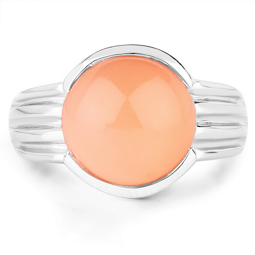 6.00 Carat Genuine Peach Moonstone .925 Sterling Silver Ring