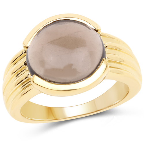 Rings-14K Yellow Gold Plated 4.89 Carat Genuine Smoky Quartz .925 Sterling Silver Ring