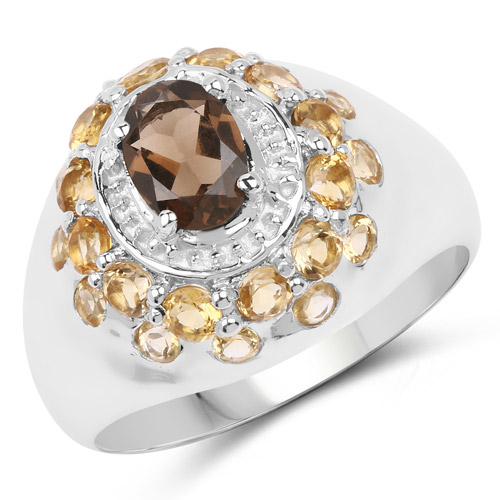 Rings-1.91 Carat Genuine Smoky Quartz and Citrine .925 Sterling Silver Ring