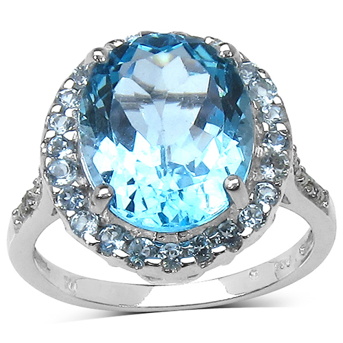 Rings-5.90 ct. t.w. Blue Topaz and White Topaz Ring in Sterling Silver