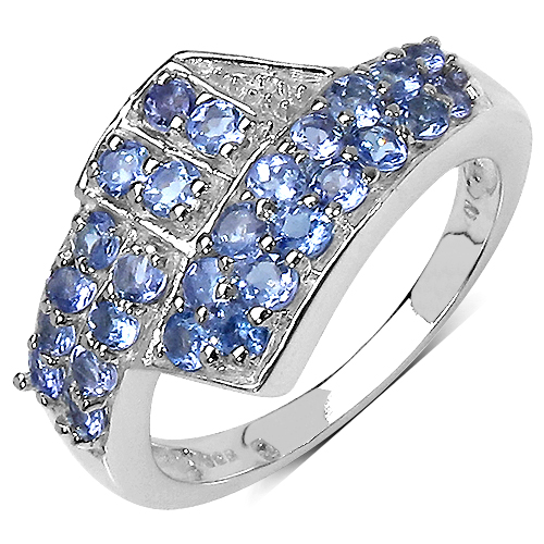Tanzanite-0.95 Carat Genuine Tanzanite .925 Sterling Silver Ring