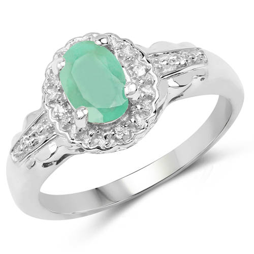 Emerald-0.68 Carat Genuine Emerald & White Topaz .925 Sterling Silver Ring