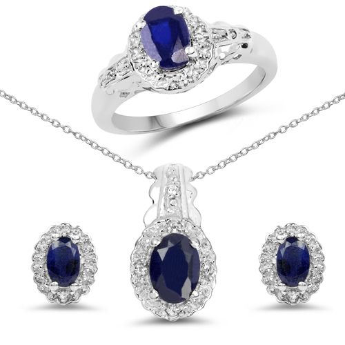 Sapphire-2.94 Carat Genuine Blue Sapphire and White Topaz .925 Sterling Silver set