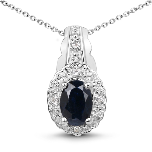 2.94 Carat Genuine Blue Sapphire and White Topaz .925 Sterling Silver set