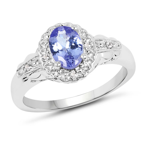 Tanzanite-0.78 Carat Genuine Tanzanite and White Diamond .925 Sterling Silver Ring