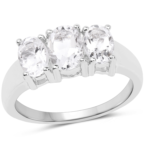 Rings-1.81 Carat Genuine Crystal Quartz .925 Sterling Silver Ring