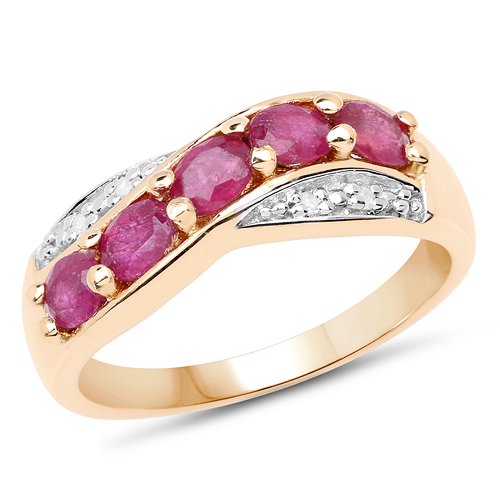Ruby-14K Yellow Gold Plated 1.10 Carat Genuine Glass Filled Ruby and 0.03 ct.t.w Genuine Diamond Accents Sterling Silver Ring