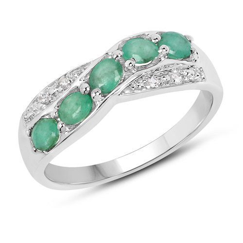 Emerald-0.79 Carat Genuine Zambian Emerald & White Topaz .925 Sterling Silver Ring