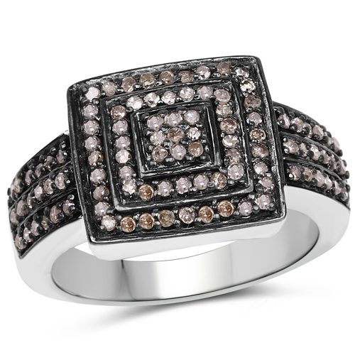 Diamond-0.42 Carat Genuine Champagne Diamond .925 Sterling Silver Ring