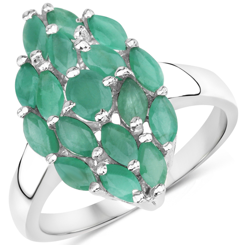 Emerald-1.26 Carat Genuine Emerald .925 Sterling Silver Ring