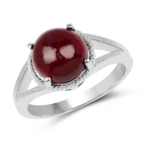 Ruby-5.05 Carat Genuine Glass Filled Ruby .925 Sterling Silver Ring