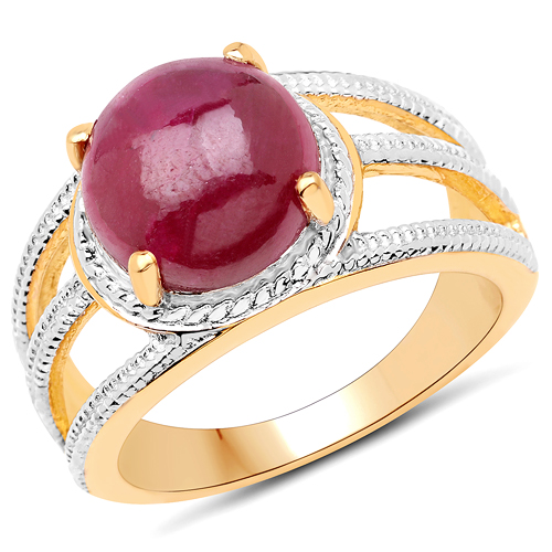 Ruby-14K Yellow Gold Plated 4.63 Carat Dyed Ruby .925 Sterling Silver Ring