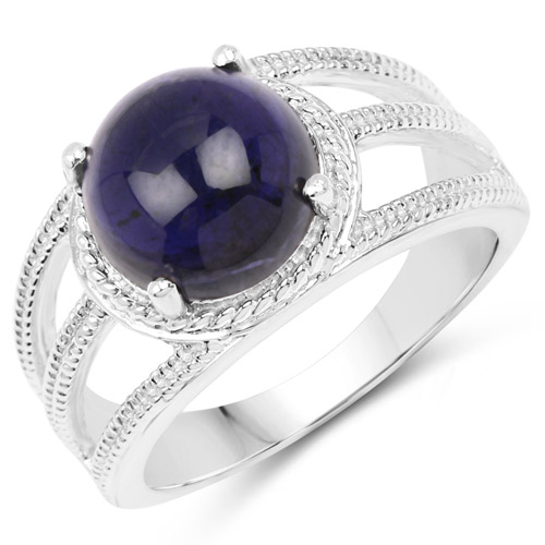 Rings-3.65 Carat Genuine Iolite .925 Sterling Silver Ring