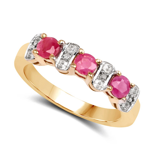 14K Yellow Gold Plated 0.71 Carat Genuine Ruby and White Diamond .925 Sterling Silver Ring