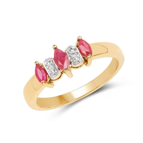 Ruby-14K Yellow Gold Plated 0.39 Carat Genuine Ruby and White Diamond .925 Sterling Silver Ring