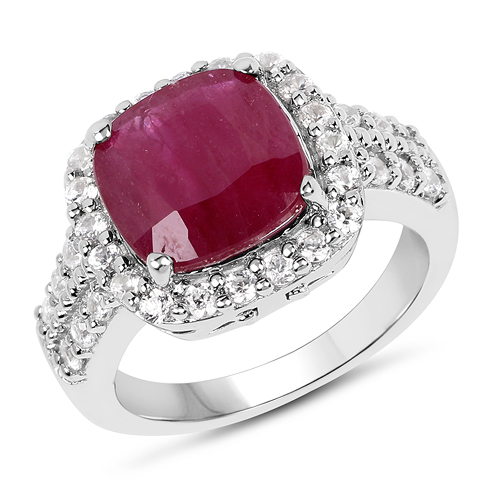 Ruby-5.65 Carat Glass Filled Ruby And White Zircon .925 Sterling Silver Ring