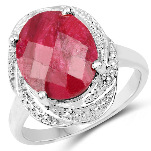 Ruby-5.26 Carat Dyed Ruby and White Diamond .925 Sterling Silver Ring
