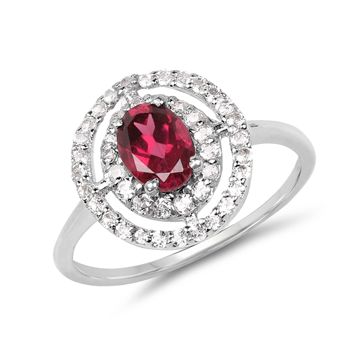1.50 Carat Genuine Rhodolite & White Topaz .925 Sterling Silver Ring