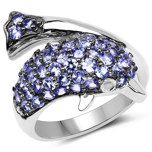 Tanzanite-1.45 Carat Genuine Tanzanite and White Diamond .925 Sterling Silver Ring