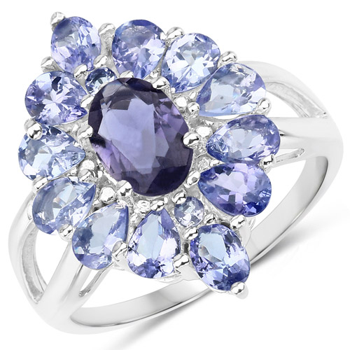 Rings-2.40 Carat Genuine Iolite and Tanzanite .925 Sterling Silver Ring