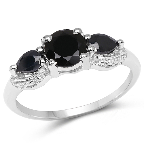 Sapphire-1.45 Carat Genuine Black Sapphire .925 Sterling Silver Ring