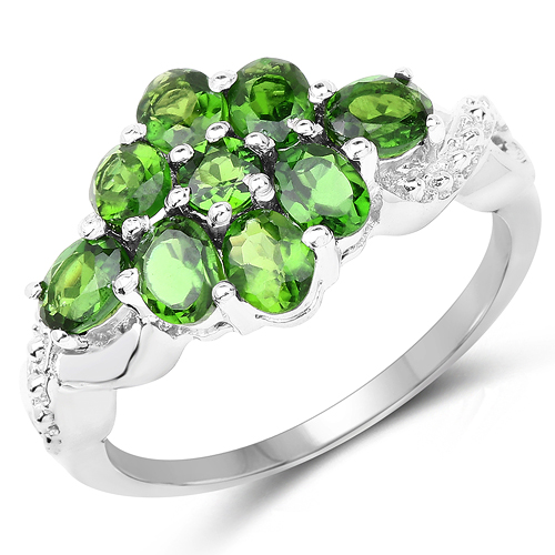 Rings-1.64 Carat Genuine Chrome Diopside .925 Sterling Silver Ring