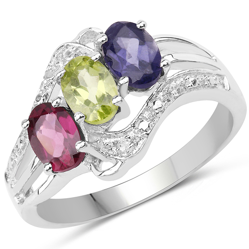 Peridot-1.36 Carat Genuine Multi Stones .925 Sterling Silver Ring