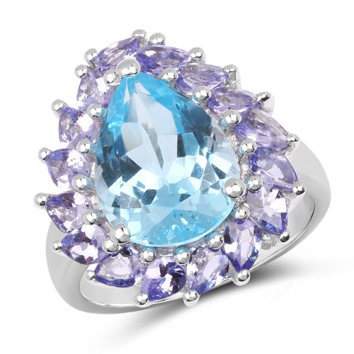 Rings-7.74 Carat Genuine Blue Topaz and Tanzanite .925 Sterling Silver Ring