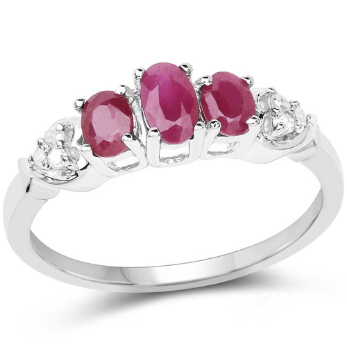 Ruby-0.76 Carat Genuine Ruby and White Diamond .925 Sterling Silver Ring