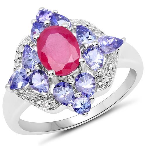 Ruby-3.16 Carat Genuine Glass Filled Ruby, Tanzanite & White Topaz .925 Sterling Silver Ring