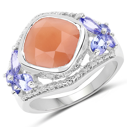 Rings-4.67 Carat Genuine Peach Moonstone and Tanzanite .925 Sterling Silver Ring