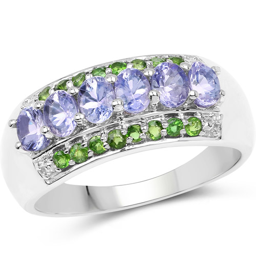 Tanzanite-1.34 Carat Genuine Tanzanite and Chrome Diopside .925 Sterling Silver Ring