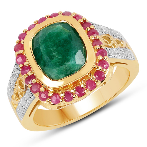 Emerald-14K Yellow Gold Plated 4.80 ct. t.w. Dyed Emerald and Ruby Ring in Sterling Silver