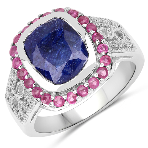 Sapphire-4.55 Carat Dyed Sapphire and Ruby .925 Sterling Silver Ring