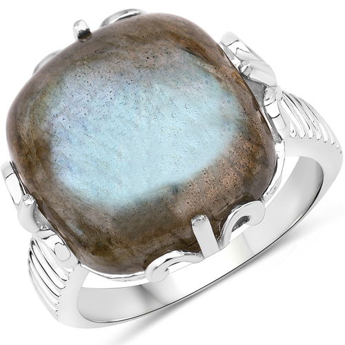 Rings-11.50 Carat Genuine Labradorite .925 Sterling Silver Ring