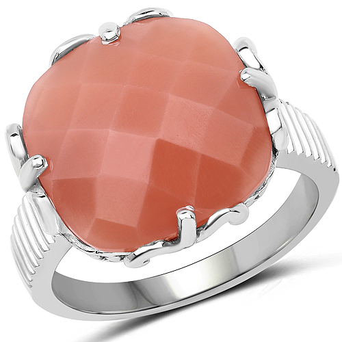 Rings-12.75 Carat Genuine Peach Moonstone .925 Sterling Silver Ring