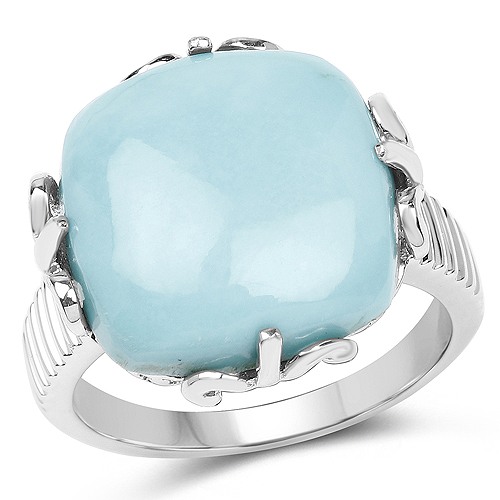 Rings-10.00 Carat Genuine Turquoise .925 Sterling Silver Ring