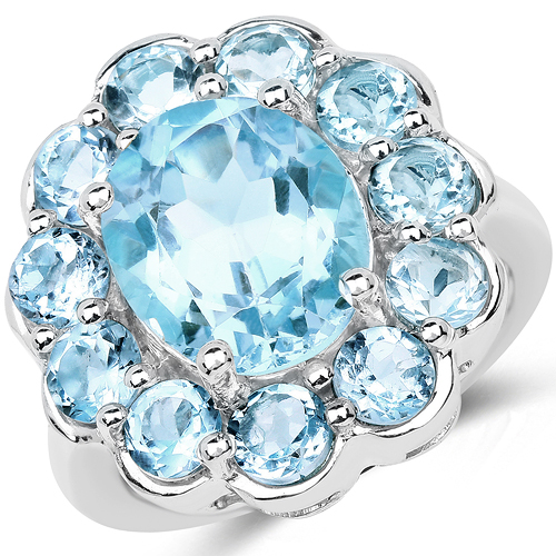 Rings-8.67 Carat Genuine Blue Topaz .925 Sterling Silver Ring