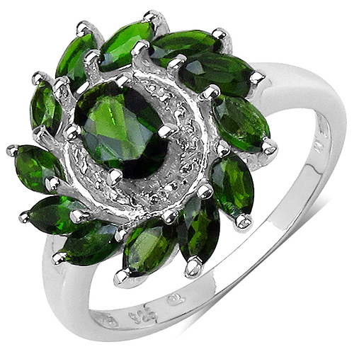 Rings-1.43 Carat Genuine Chrome Diopside .925 Sterling Silver Ring