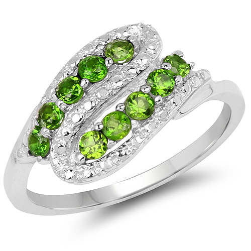 Rings-0.50  Carat Genuine Chrome Diopside .925 Sterling Silver Ring
