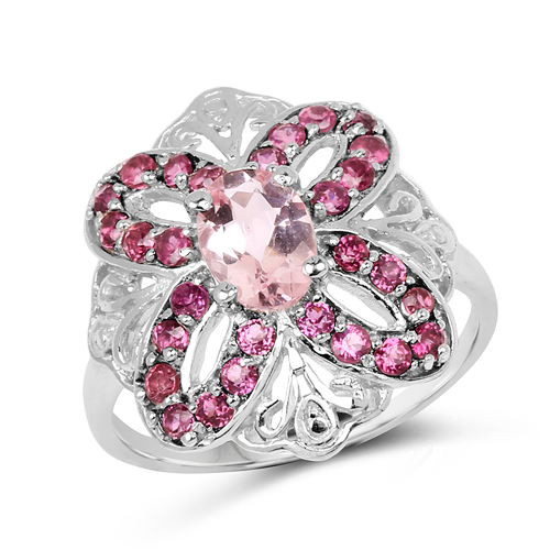 Rings-1.82 Carat Genuine Morganite & Rhodolite .925 Sterling Silver Ring