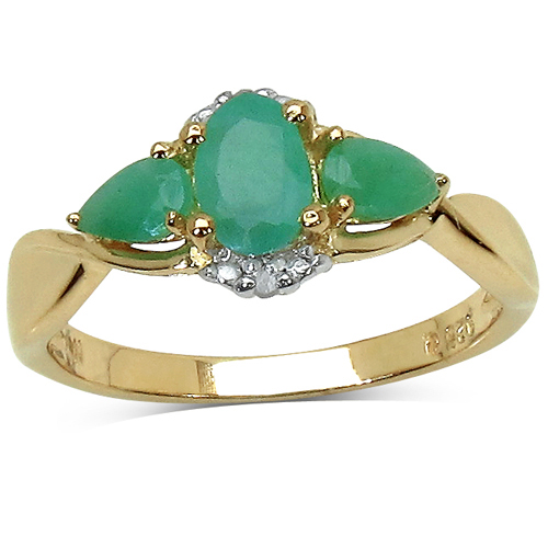 Emerald-14K Yellow Gold Plated 0.96 Carat Genuine Emerald & White Diamond .925 Sterling Silver Ring