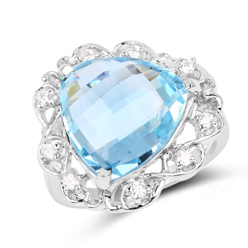 Rings-11.01 Carat Genuine Blue Topaz and White Zircon .925 Sterling Silver Ring