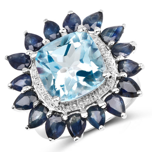 Rings-7.60 Carat Genuine Blue Topaz and Blue Sapphire .925 Sterling Silver Ring