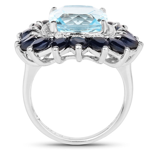 7.60 Carat Genuine Blue Topaz and Blue Sapphire .925 Sterling Silver Ring