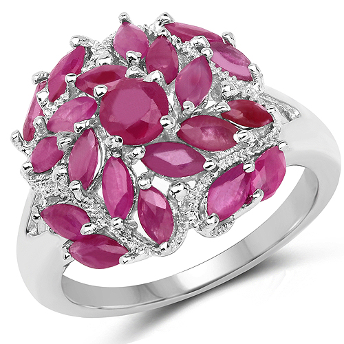 Ruby-2.10 Carat Genuine Ruby .925 Sterling Silver Ring