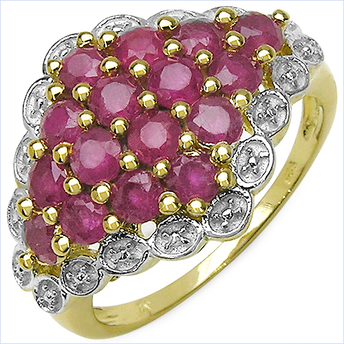Ruby-14K Yellow Gold Plated 2.08 Carat Genuine Ruby .925 Sterling Silver Ring