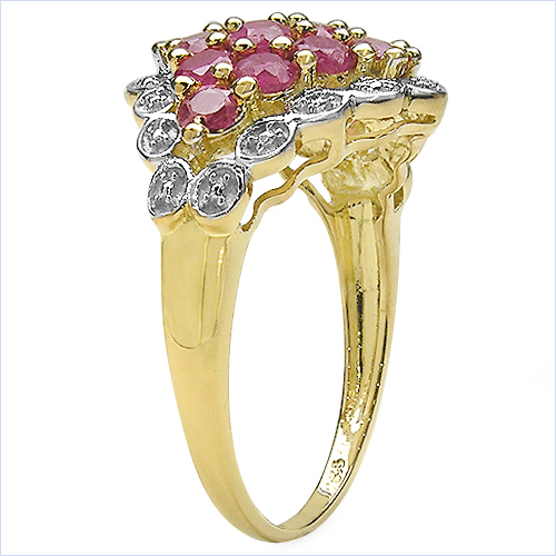 14K Yellow Gold Plated 2.08 Carat Genuine Ruby .925 Sterling Silver Ring