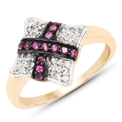 Ruby-14K Yellow Gold Plated 0.57 Carat Genuine Ruby and White Cubic Zirconia .925 Sterling Silver Ring